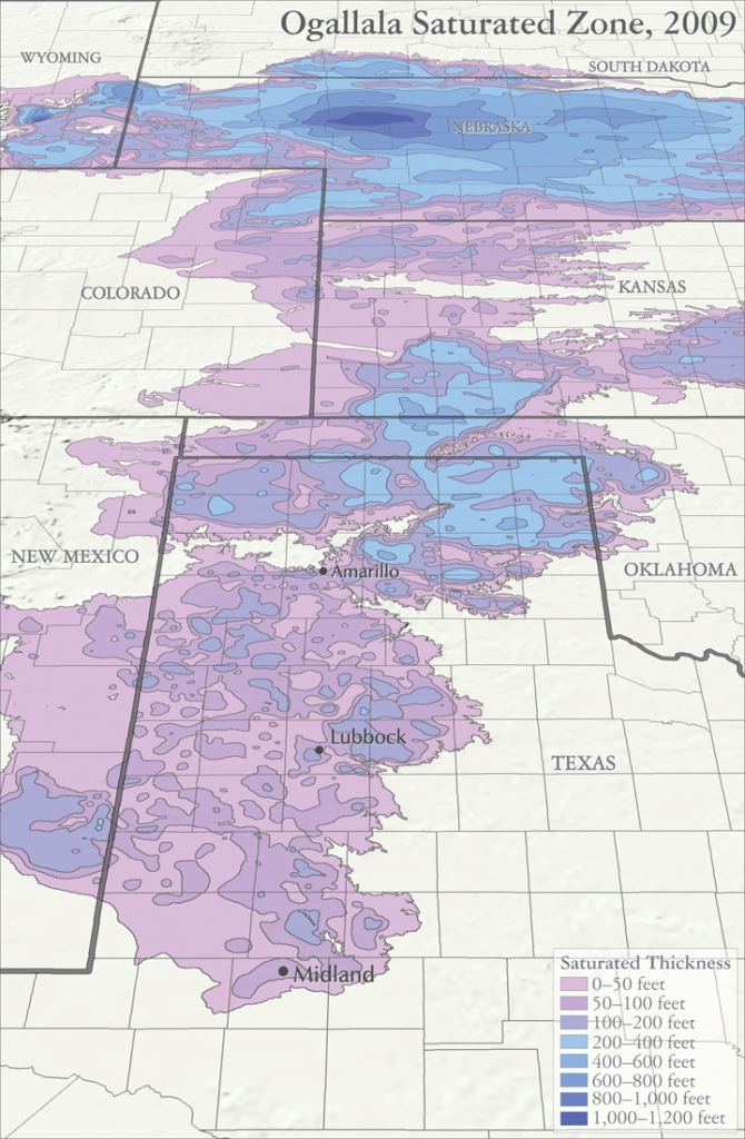 Map sources: Houston, Natalie. 2011. Hydrogeologist, Texas Water Science Center, U.S. Geological Survey. Personal communication, October 2011. Houston, Natalie, Amanda Garcia, and Eric Strom. 2003. Selected Hydrogeologic Datasets for the Ogallala Aquifer, Texas. Open File Report 2003-296. August 2003.