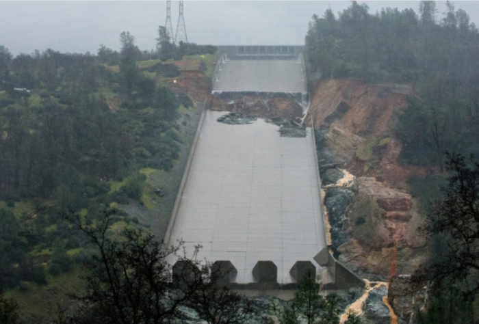 Oroville Dam spillway collapse. Photo credit Californian Department of Water Resources.