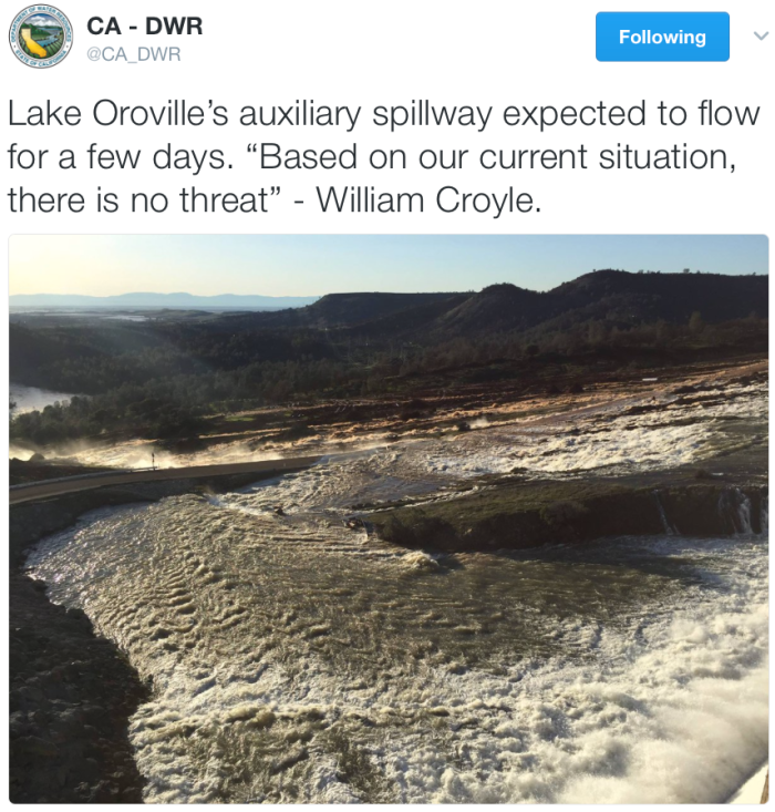 View from the top of the auxiliary spillway February 11, 2017 via @CA_DWR.