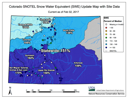 Statewide snowpack basin-filled map February 2, 2017 via the NRCS.