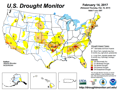 US Drought Monitor February 14, 2017.