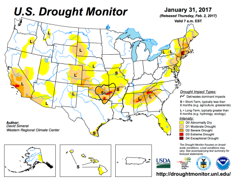US Drought Monitor January 31, 2017.
