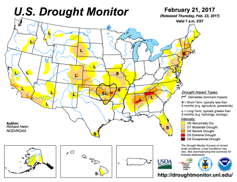US Drought Monitor February 21, 2017.