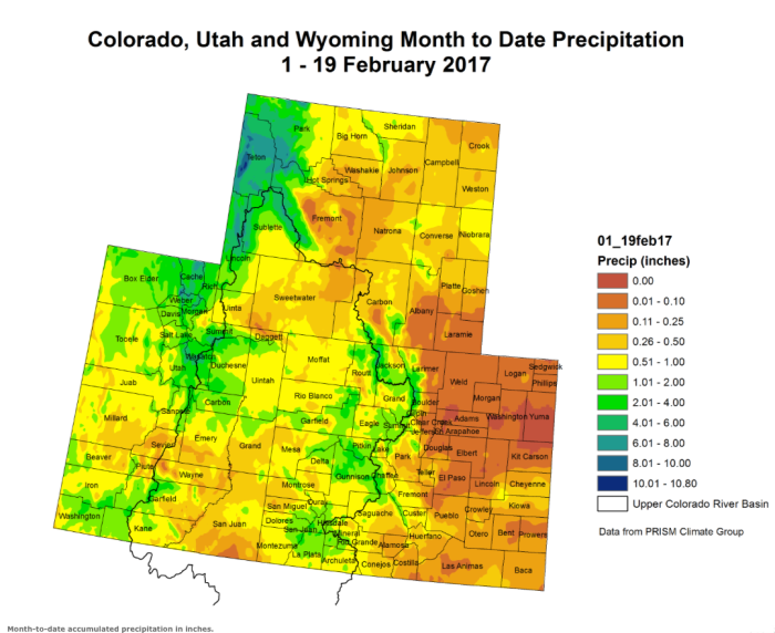 Intermountain West month to date precipitation through February 15, 2017 via the Colorado Climate Center.