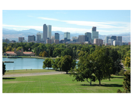 Denver skyline, view is west from City Park. Photo credit The City of Denver.