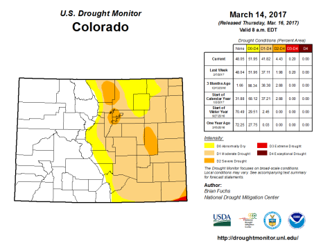 Colorado Drought Monitor March 14, 2017.