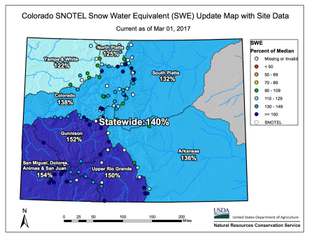 Statewide snowpack map March 1, 2017 via the NRCS.