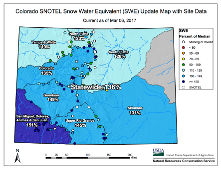 Statewide snowpack map March 6, 2017 via the NRCS.
