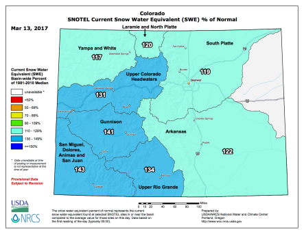 Statewide snowpack basin-filled map March 13, 2017 via the NRCS.