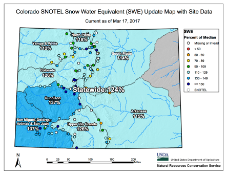 Statewide basin-filled snowpack map March 17, 2017 via the NRCS.