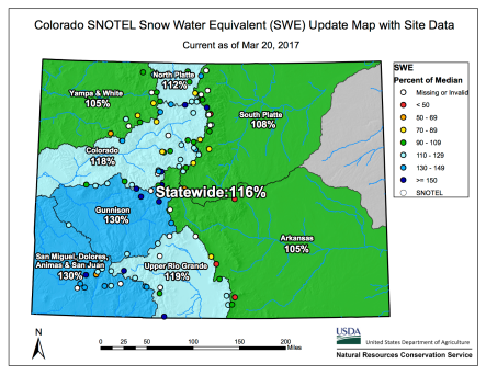Statewide snowpack basin-filled map March 20, 2017 via the NRCS.