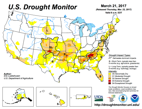 US Drought Monitor March 21, 2017.