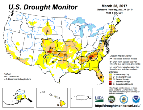 US Drought Monitor March 28, 2017.
