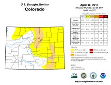 Colorado Drought Monitor April 18, 2017.