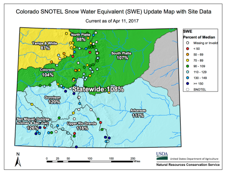 Statewide snowpack basin-filled map April 11, 2017 via the NRCS.