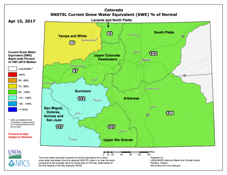 Statewide snowpack April 17, 2017 via the NRCS.