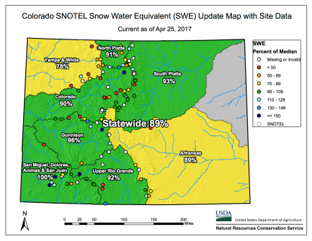 Statewide snowpack basin-filled map April 25, 2017 via the NRCS.