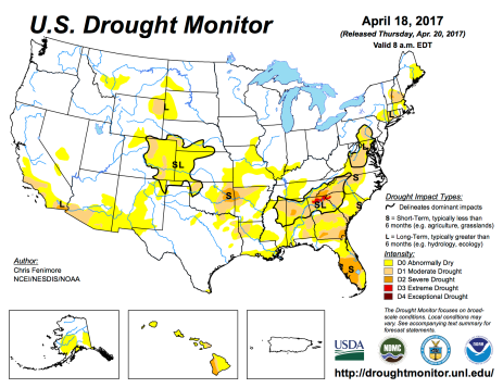 US Drought Monitor April 18, 2017.