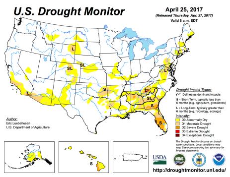 US Drought Monitor April 25, 2017.
