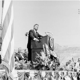 John F. Kennedy at Commemoration of Fryingpan Arkansas Project in Pueblo, circa 1962.