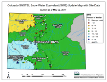 Statewide basin-filled snowpack map May 2, 2017 via the NRCS.