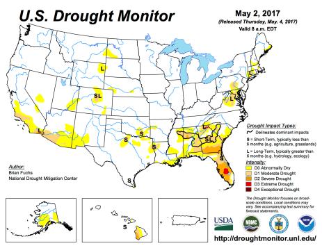 US Drought Monitor May 2, 2017.