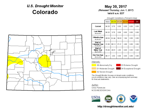Colorado Drought Monitor May 30, 2017.