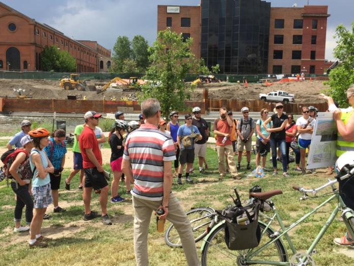Confluence Park, South Platte River and Cherry Creek June 7, 2017. Water Education Colorado's Urban Waters Bike Tour.
