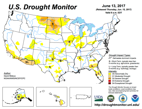 US Drought Monitor June 13, 2017.
