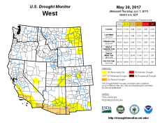 West Drought Monitor May 30, 2017.