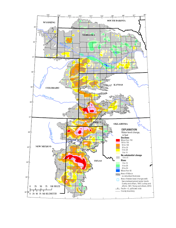 high plains aquifer water level changes predevelopment about 1950 to 2015 figure 1 from usgs sir 2017 5040public domain