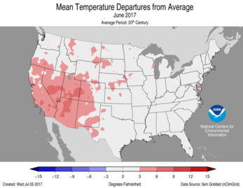 June 2017 average temperature departures.