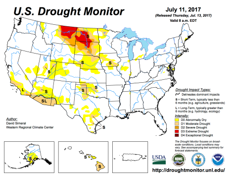 US Drought Monitor July 11, 2017.