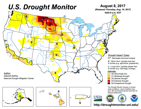 US Drought Monitor August 8, 2017.
