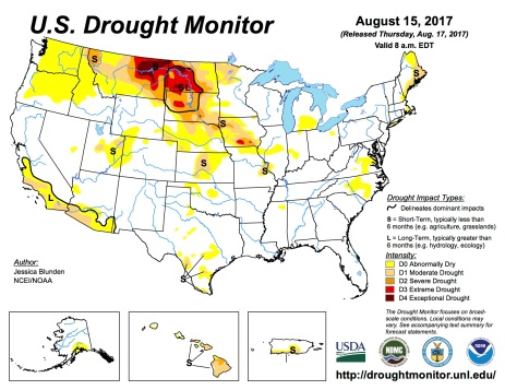 US Drought Monitor August 15, 2017.