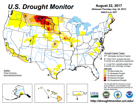 US Drought Monitor August 22, 2017.