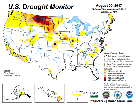 US Drought Monitor August 29. 2017.