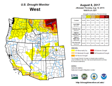 West Drought Monitor August 8, 2017.