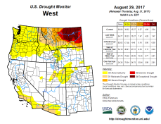 West Drought Monitor August 29. 2017.