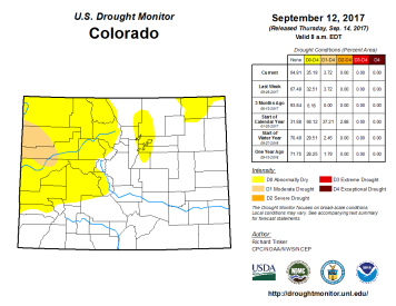 Colorado Drought Monitor September 12, 2017.
