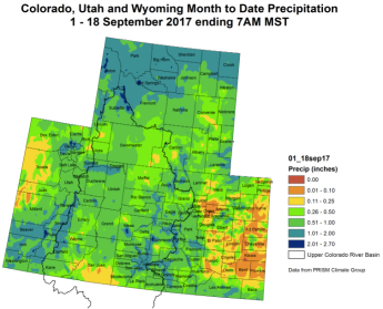 Upper Colorado River Basin month to date precipitation September 18, 2017.