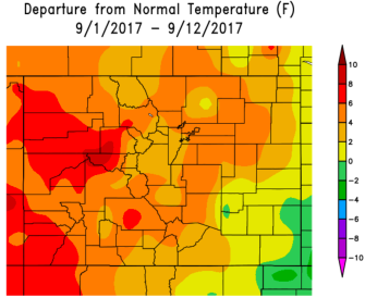 Temperature departure from average Colorado month to date through September 12, 2017 via the Colorado Climate Center.