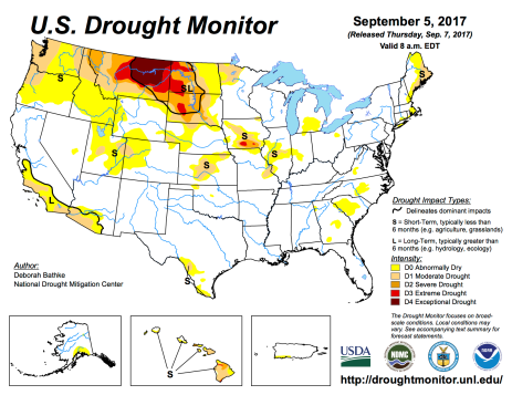 US Drought Monitor September 5, 2017.