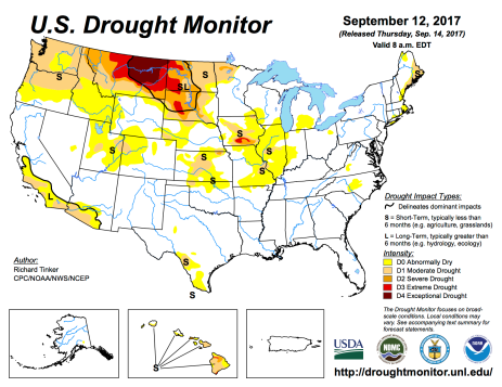 US Drought Monitor September 12, 2017.