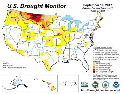 US Drought Monitor September 19, 2017.