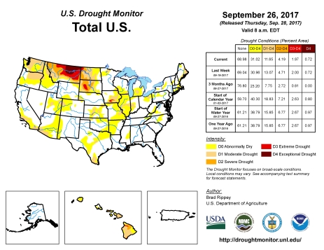 US Drought Monitor September 26, 2017.