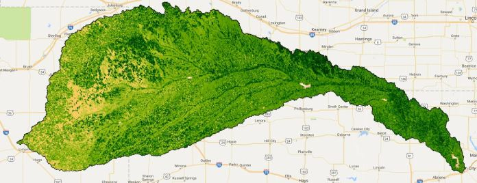 More than 9,000 Landsat images provide vegetation health metrics for the Republican River Basin. Credit: David Hyndman