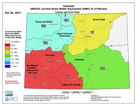 Colorado basin-filled snowpack map October 29, 2017 via the NRCS.