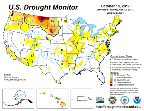 US Drought Monitor October 20, 2017.