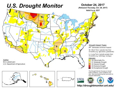 US Drought Monitor October 24, 2017.